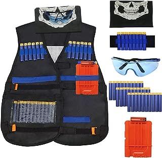 IHUKEIT Kids Tactical Vest Kit Compatible with Nerf Guns N-Strike Elite Series, with Kid Tactical Vest, Reload Clip, Face Mask, Wrist Band, Safety Glasses and Foam Darts Bullets for Boy Kids