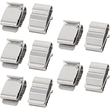 uxcell 10Pcs Solar Mounting Stainless Steel Cable Clamp Clip Fit for 2 x 6mm Dia Cable a17030200ux0663