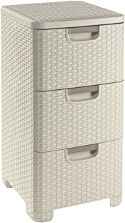 CURVER   Tour de rangement 3 tiroirs STYLE, Aspect rotin, Ivoire, 37,8 x 32,8 x 59,5 cm, Plastique