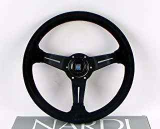 Nardi Steering Wheel - Deep Corn - 330mm (12.99 inches) - Black Suede Leather with Red Stitching - Classic Horn Button - Part # 6069.33.2094