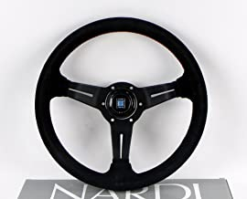 Nardi Steering Wheel - Deep Corn - 330mm (12.99 inches) - Black Suede Leather with Red Stitching - Classic Horn Button - P...