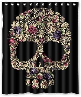 SEASIDESS Special Designed Sugar Skull Shower Curtains 60 X 72 Home Decor Bath Curtain