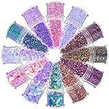 YUEMING 12 Pezzi Glitter in Polvere Paillettes Lridescenti, Glitter per Unghie, Paillettes per Nail Art Glitter, Polvere Cosmetici DIY Decalcomanie Decorazione per Viso Corpo Occhi con Pennelli