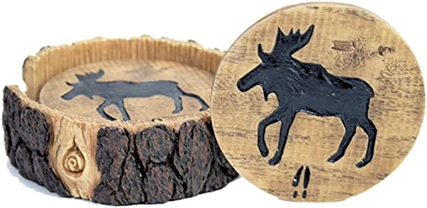 Moose Decor Wood And Log Look Coaster Set