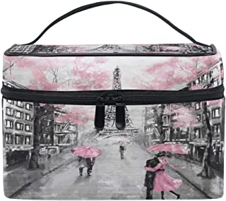 Toprint Large Makeup Bag Organizer Floral Paris Eiffel Tower Vintage Cosmetic Case Bag Toiletry Storage Portable Zipper Pouch Travel Brush Bag for Women Lady