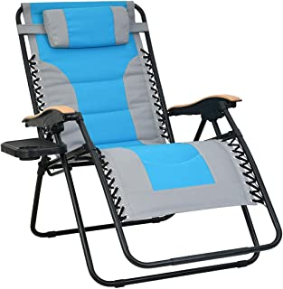 Patio Watcher Oversized Padded Zero Gravity Lounge Chair Patio Foldable Adjustable Reclining Chair with Cup Holder and Rem...