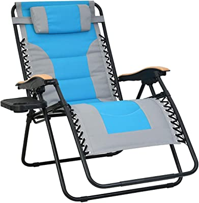 Patio Watcher Oversized Padded Zero Gravity Lounge Chair Patio Foldable Adjustable Reclining Chair with Cup Holder and Removable Pillow for Outdoor Yard Porch 1 Set