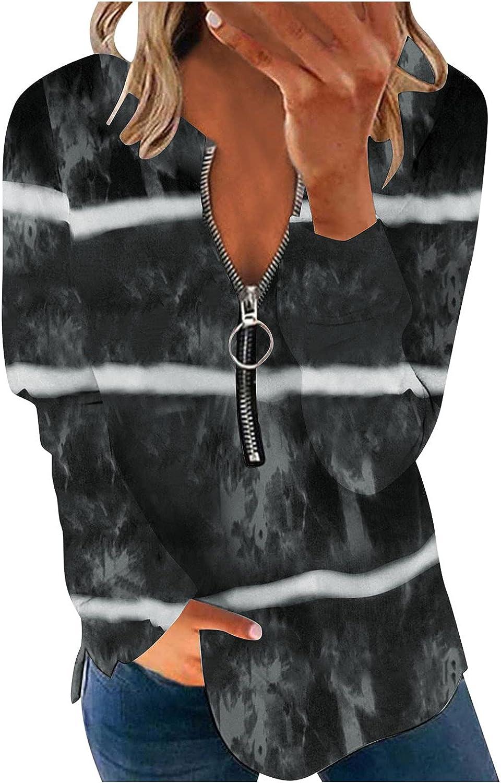 Jaqqra Sweatshirts for Women Plus Size Striped Printing Sweatshirts Long Sleeve Pullover Tops Activewear Running Jacket