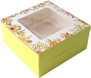 15PCS Green Paper Flower Cupcake Holder Containers Carrier avec doublure intérieure, boîtes-cadeaux d'emballage de pâtisse...