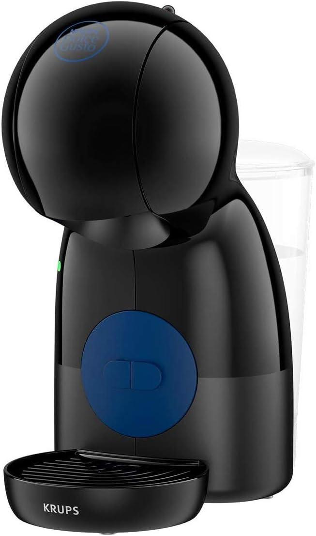 Krups Piccolo XS KP1A08 - Cafetera cápsulas Nestlé Dolce Gusto de 15 bares de presión y 1500 W potencia con depósito de 0.8 L, monodosis multibebidas frías y calientes, manual, compacta, negro y azul
