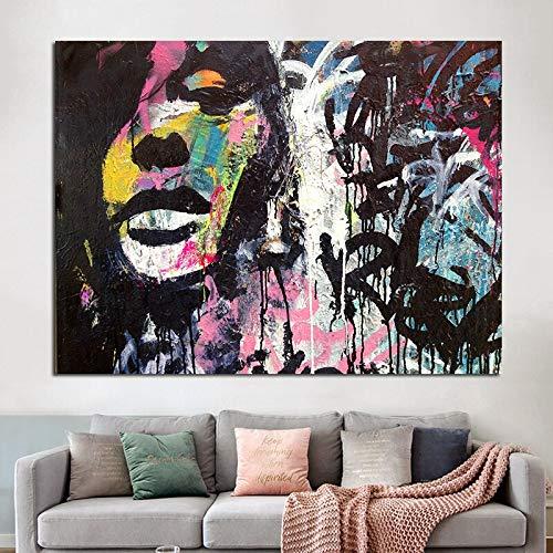 Geiqianjiumai Pintor Abstracto Famoso Mujer sobre Lienzo Que construye Arte Mural Moderno Regalo gráfico decoración del hogar Dormitorio póster Pintura sin Marco 50x75 cm