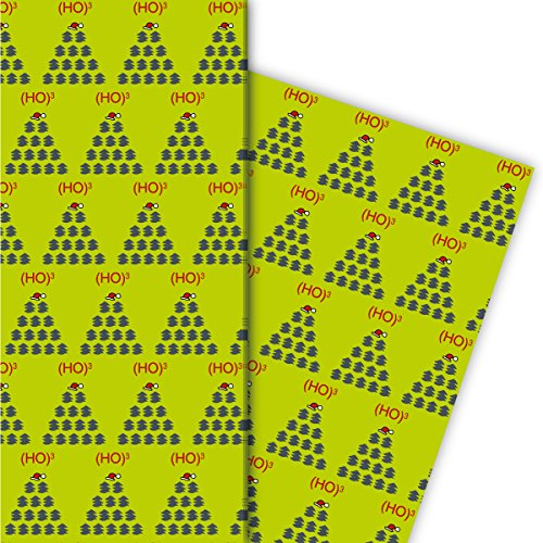 Grafisch kerstpapier set (4 vellen) decorpapier met kerstboom patroon