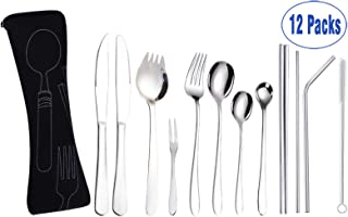 AARainbow Portable Reusable Utensils with Bag, Travel Cutlery Set,12-Piece including Knives Forks Spoons Chopsticks Cleaning Brush Straws and Portable Bag,Stainless steel Flatware set (12+Silver)