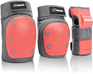 Joncom Knee Pads Elbow Pads Wrist Guards for Kids Youth Adult 3 in 1 Protective Gear Set for Skateboarding, Roller Skating...