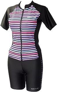 水着 レディース フィットネス 体型カバー セパレート 女性 フロントジッパー 袖付 UV 9M 11L 13L 15LL 17LL