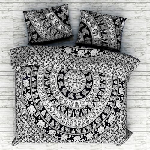 Double Size Indian Elephant Mandala Duvet Cover Throw Reversible Cotton Donna Cover Handmade Bedding Quilt Cover With 2 Pcs Pillow Cover (Black&White Color)42
