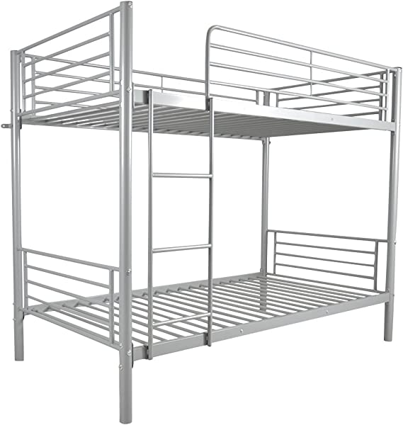 Twin Over Twin Loft Bed Metal Bunk Bed With Ladder Guard Rail With Dual Ladders Easy Assembly Quick Lock For Boys Girls Teens Kids Bedroom Dorm