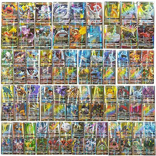 Flyglobal 200 Stück Karten für Pokemon, Cards Set 170 GX + 20 Energy + 10 Trainer Kinder Kartenspiele