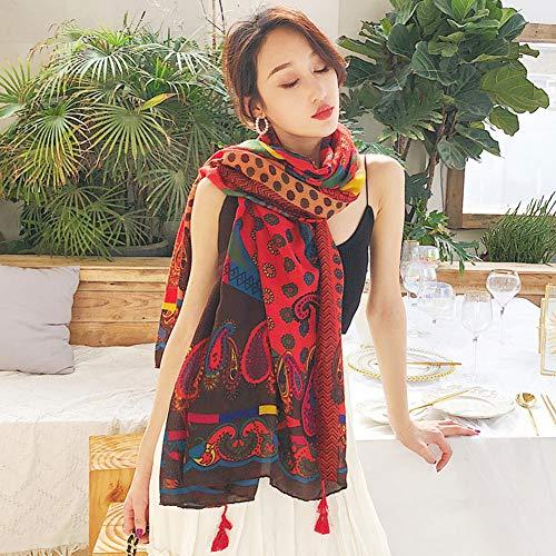 RIRUI Zomer katoen en linnen nationale wind strandhanddoek vakantie zonnecrème sjaal franjes design comfortabel en zacht