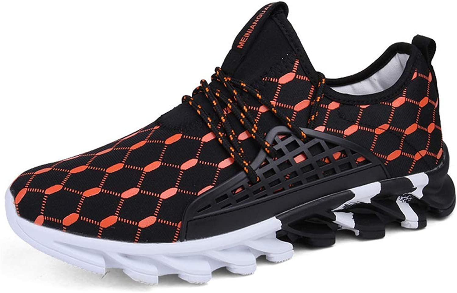 ZHRUI Mens Sport Sneakers Men Comfortable Sports Outdoor Running shoes Male Breathable Footwear (color   orange, Size   9=43 EU)