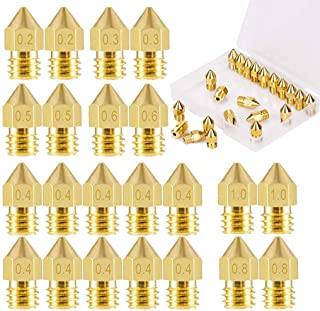 ELEPHANTBOAT® 22Pieces 3D Printer Extruder Nozzle MK8 for Makerbot Creality CR-10 7 Different Size 0.2 mm, 0.3 mm, 0.4 mm,...