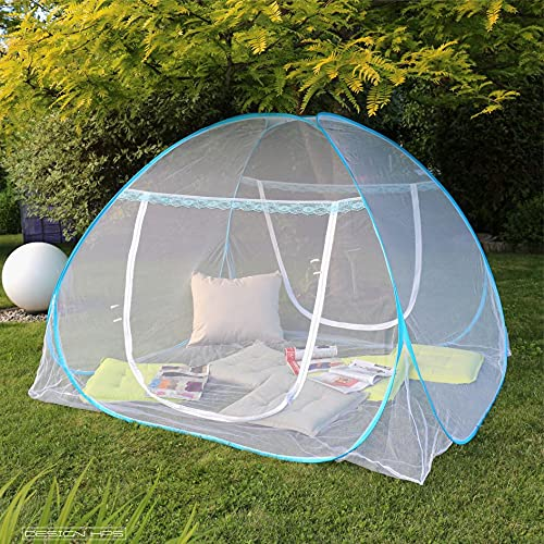 APANA Mobiler Insektenschutz Moskitonetz Mückennetz Fliegengitter Pop Up Camping Doppelbett 180 x 200 x 150 cm weiß
