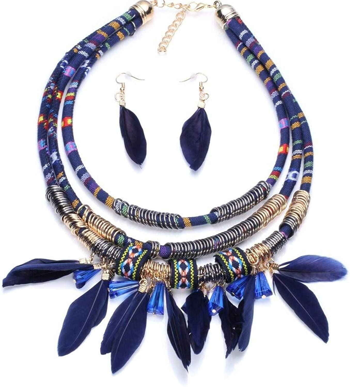 Rhinestone Necklace Choker Exaggerated Fashion Feather Necklace Earrings Set by Enking