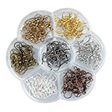 Ear Wires, Heirtronic 140 Pieces Steel Fish Earring Hooks with Transparent Storage Box, 7 Colors