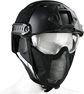 JFFCESTORE PJ Type Tactical Multifunctional Fast Helmet and Foldable Adjustable Half Mesh Mask