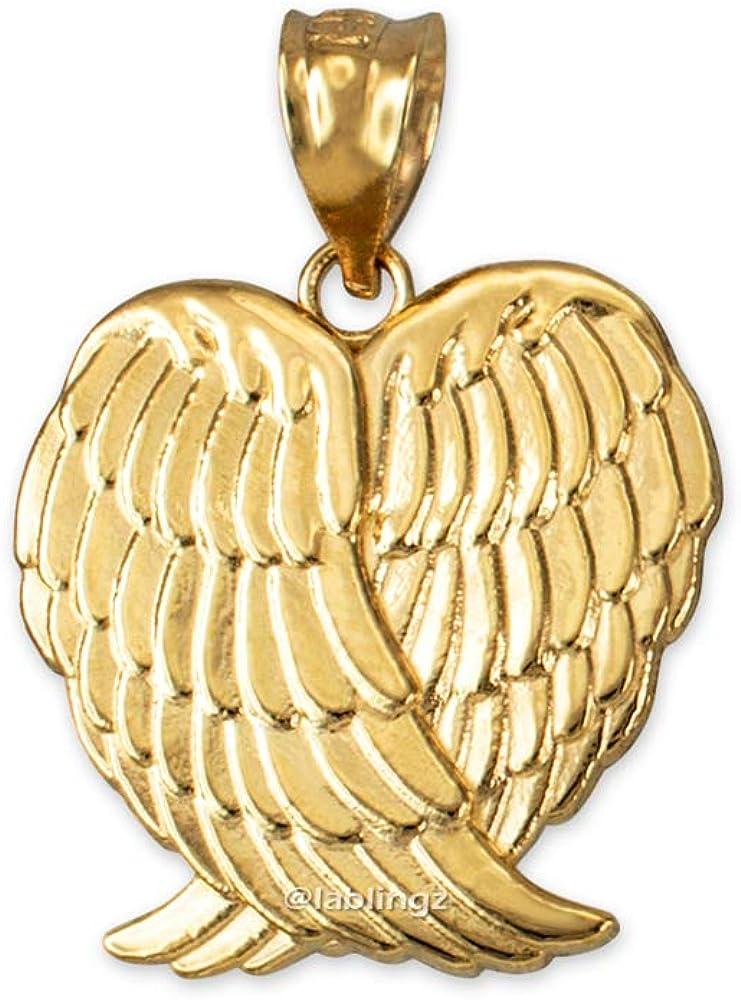 LA BLINGZ 14K Yellow Gold Angel Wings Pendant Necklace
