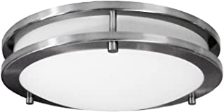 """HomeSelects 6102 Saturn 12"""" Surface Mount Ceiling Light, Brushed Nickel with Opal Glass Globe, 12""""L x 12""""W x 3""""H"""