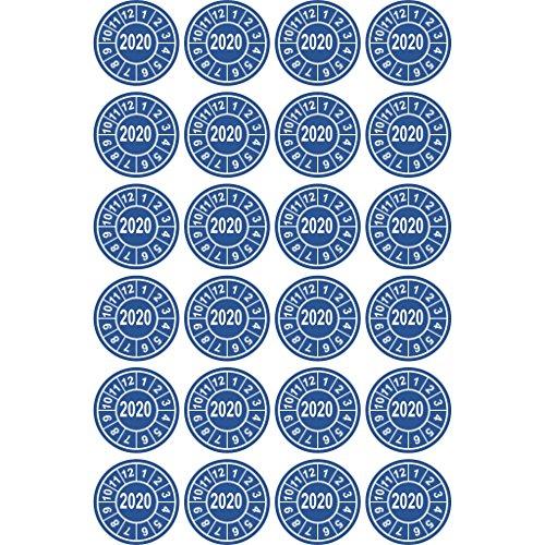 24 Stück Prüfplakette Prüfsiegel Ø20mm Aufkleber Jahresplakette UVV BGV D27 BGR R079 (Jahr 2020)