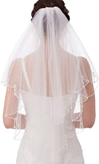 Emondora 2T Short Sequin Pearl Edge Crystals Beaded Bling Wedding Bridal Veil