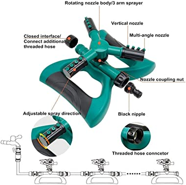 Madeking Garden Sprinkler, Automatic 360 Rotating Adjustable Garden Water Sprinklers Lawn Irrigation System Covering Large Ar
