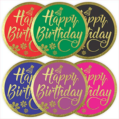 """Happy Birthday Stickers Seals Labels (Pack of 120) 2"""" Large Round Gold Foil Stamping for Cards Gift Envelopes Boxes"""