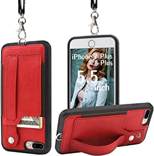 TOOVREN Upgraded iPhone 7 Plus Case, iPhone 8 Plus Wallet Case, Necklace Lanyard Case with Kickstand Card Holder, Ajust Detachable Anti-Lost Lanyard Strap Perfect for Daily use, Work, Outdoors RED