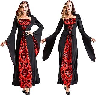 Superi6 ハロウイン コスプレ 衣装 大人 悪魔 魔女 ヴァンパイア 赤マント コスチューム 仮装 女王様 中世期宮廷貴族風 パーティー・宴会 コスチューム 学園祭魔女 死神 マント コスチューム ブラック レディース