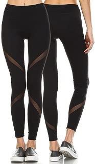 Women's Sexy Mesh Workout Leggings High Waist Yoga Pants Causual Sports Gym Running Sleek Contrast Mesh Panels