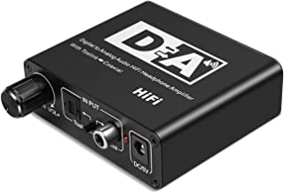 TNP Digital to Analog Converter DAC Converter - Digital Coaxial Optical Toslink to Analog Stereo L/R RCA 3.5mm Audio Jack AUX Plug Adapter Headphone Amplifier 192kHz Volume Control for HDTV Chromecast