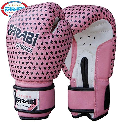 Farabi - Guantes de boxeo para niña, guantes de combate para MMA, muay thai. Color rosa. Peso: 113 g