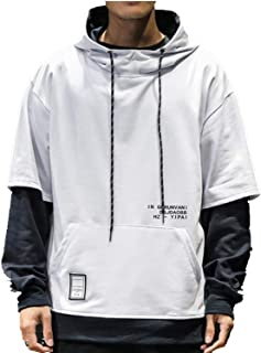 WZXSMDY M-5XL Size Development! Inner Men's Parker-by-Color Long-Sleeved Sweat Over-Size Couple Jersey Sweatshirt with a Hood Loose (Color : White, Size : 5XL)