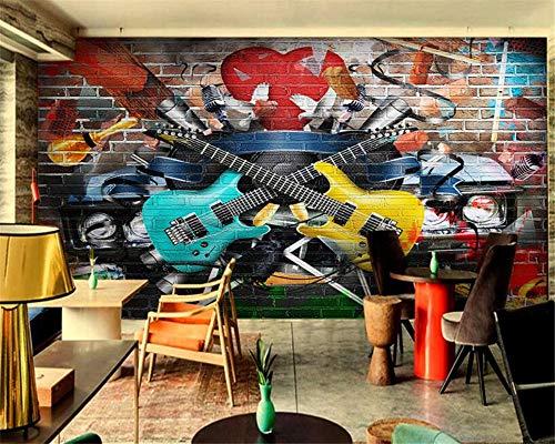 Wongxl Benutzerdefinierte Cafe Hotel Bar Interior 3D Wallpaper Von Hand Bemalt Gitarre Graffiti Rock Hintergrund Wall 3D Wallpaper Wandbild 3D Tapeten Fresko Wandmalerei Mural Wallpaper 200cmX150cm