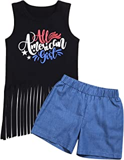 Walsoner 4th of July Outfits Baby Girl Independence Day Outfits Love Print Black Vest +Jeans Shorts