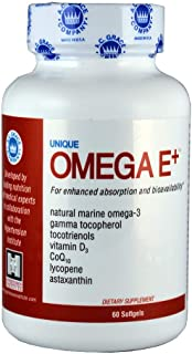 Unique Omega E+ Omega-3 Fish Oil Complex (60 Softgels) Natural Muscle and Joint Anti-Inflammatory | EPA, DHA, Fatty Acids, 600 IU Vitamin D3 | Adult Supplement