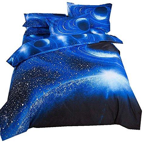 Bettbezug Set 3D Galaxy Sternenhimmel Universum Mond Einhorn Duvet Quilt Und Kissenbezug Einzelbett 135x200cm für Kinder, Jungen, Mädchen Bettwäsche-Set (Umlaufbahn des blauen Planeten, 135 x 200 cm)