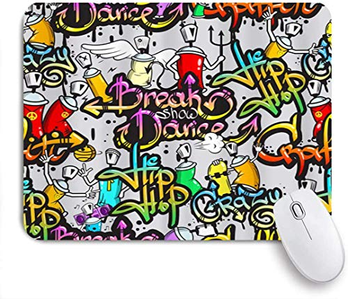 Gaming-Mauspad, Hip Hop Gra-ffiti Bunte Grafik, rutschfeste Gummibasis, Schreibtischmatte für und zu Hause 25x30cm