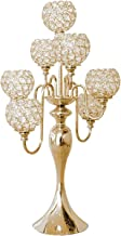 Fenteer 7-Candle Crystal Candelabra Centerpiece Candle Stand Home Decoration for Event, Wedding, Party - Golden
