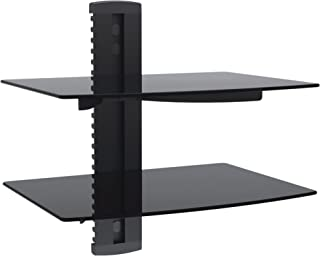 VonHaus 2X Black Floating Shelves with Strengthened Tempered Glass for DVD Players/Cable Boxes/Games Consoles/TV Accessories