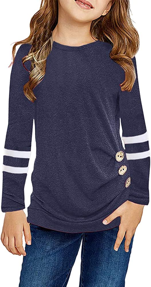 Remikstyt Girls Tunic Tops Long Sleeve Striped Crewneck Casual Button Down Shirts