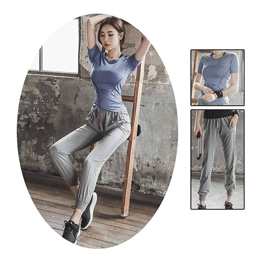 酸素音節書き出す女性のヨガセット、無地、スリムフィット、半袖Tシャツ+ハイウエストヨガパンツ、ツーピースセット、カジュアルスポーツセット,Blue,M